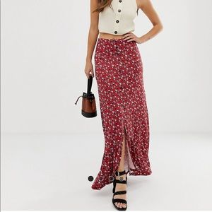 ASOS Red Floral Maxi Button Peplum Skirt